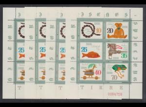 DDR 1981 Kleinbogen Spielzeug Mi.-Nr. 2661-66 in allen 4 Zähnungsvarianten **