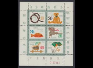 DDR 1981 Kleinbogen Spielzeug Mi.-Nr. 2661-66 Oberrand NICHT durchgezähnt **