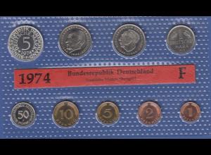 Bundesrepublik DM-Kursmünzensatz 1974 F stempelglanz