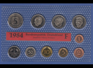 Bundesrepublik DM-Kursmünzensatz 1984 F stempelglanz