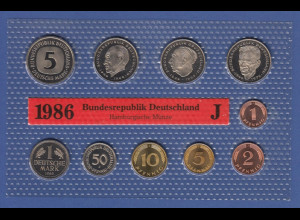 Bundesrepublik DM-Kursmünzensatz 1986 J stempelglanz