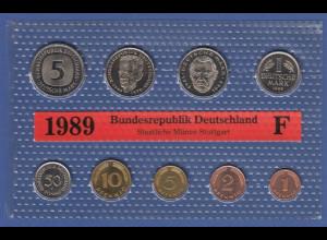 Bundesrepublik DM-Kursmünzensatz 1989 F stempelglanz