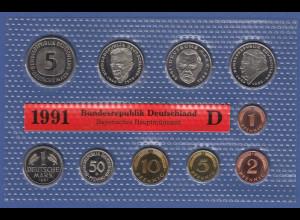 Bundesrepublik DM-Kursmünzensatz 1991 D stempelglanz