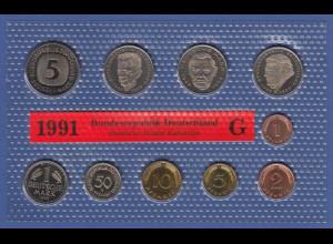 Bundesrepublik DM-Kursmünzensatz 1991 G stempelglanz