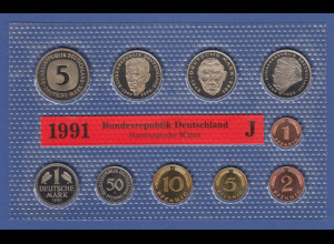 Bundesrepublik DM-Kursmünzensatz 1991 J stempelglanz