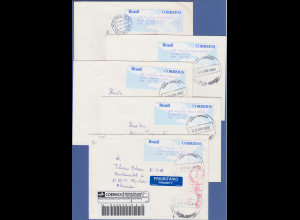 Brasilien ATM Taube, SELTENSTER Satz aus 2. Tarif 27-40-45-60-150 auf 5 Briefen