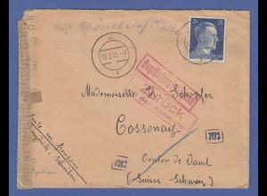 Februar 1945 interess. Zensur-Retour-Brief aus Deutschland gel. in die Schweiz