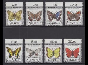 Bund 1991 Schmetterlinge Mi.-Nr. 1512-19 Oberrandsatz einheitl. Stempel MÜNCHEN