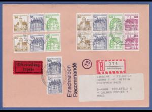 Bund 1987 Burgen&Schlösser H-Bl.28 + weitere ZSD auf R-Expr.-Brief aus Inzlingen