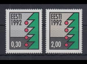 Estland Weihnachten 1992 Papier fluoresz. Mi.-Nr. 195-196 y Satz 2 Werte **