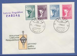 Litauen 1990 Freimarken Friedensengel 5-50K Mi.-Nr. 457-460 auf blanco-FDC
