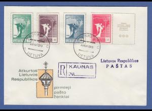 Litauen 1990 Freimarken Friedensengel 5-50K Mi.-Nr. 461-464 auf blanco-R-FDC