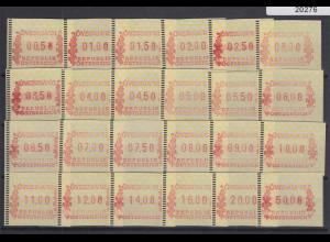 Österreich FRAMA-ATM ÖVEBRIA 2001 Mi.-Nr. 5 großer Satz 24 Werte **