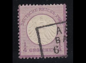 Dt. Reich kleiner Brustschild 1/4 Gr. violett Mi.-Nr. 1 sauber gestempelt