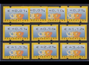 Deutschland ATM 3 Posthörner, €-Währung Mi-Nr. 4.1 Tastensatz 0,01-3,68 **