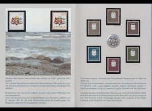Lettland erste Freimarken 1991 Mi.-Nr. 305-312 ** in offizieller Klappkarte
