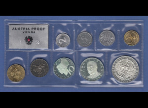Österreich Kursmünzensatz 1970 PP / proof, 9 Nominale, dabei 3 Silbermünzen