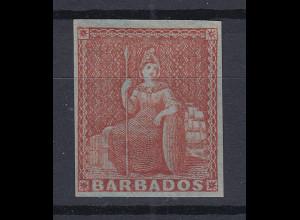Barbados 1855 sitzende Britannia Mi.-Nr. 3x sauber ungebraucht