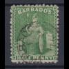 Barbados 1875 sitzende Britannia Mi.-Nr. 25A sauber gebraucht