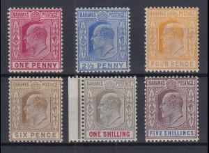 Bahamas 1902 Edward VII. Mi.-Nr. 23-28 Teilsatz sauber ungebraucht *