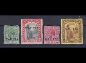 Bahamas 1918 Kriegssteuer WAR TAX Mi.-Nr. 52-55 Teilsatz sauber ungebraucht *