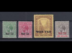 Bahamas 1918 Kriegssteuer WAR TAX 4 Werte aus Mi.-Nr. 58-62 ungebraucht *