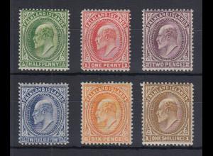 Falklandinseln 1904 Edward VII. Mi.-Nr. 17-22 X Teilsatz ungebraucht *