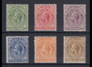 Falklandinseln 1912 Georg V. Mi.-Nr. 25-30 Teilsatz ungebraucht *