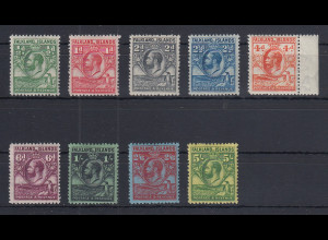 Falklandinseln 1929 Georg V. Wal / Pinguin Mi.-Nr. 48-56 Teilsatz ungebraucht *