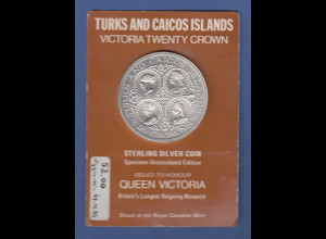 Turks and Caicos Islands Silbermünze 20 Crowns 1976