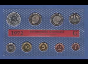 Bundesrepublik DM-Kursmünzensatz 1972 G spiegelglanz