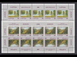 Lettland EUROPA 1999 Naturparks Mi.-Nr. 496-97 ** Kleinbogen-Satz