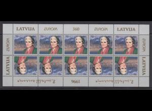 Lettland EUROPA 1996 Berühmte Frauen Zenta Maurina Mi.-Nr. 423 ** Kleinbogen