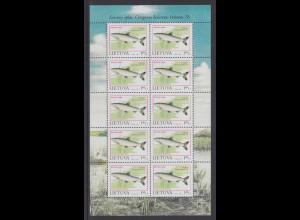 Litauen 1998 Gefährdete Fische: Renke Mi.-Nr. 671 ** Kleinbogen