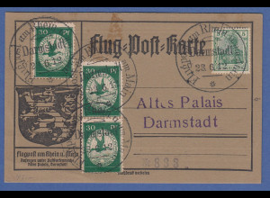 Deutsches Reich Flugpost Rhein-Main 1912 3x30Pfg-Wert auf Karte Darmstadt