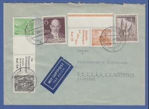 Berlin Zusammendrucke SZ6 und W27 auf portoger. Luftpost-Brief nach Neubiberg
