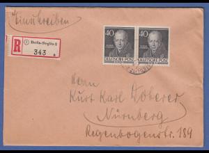 Berlin Männer Humboldt Mi-Nr. 100 waager. Paar auf schönem R-Brief nach Nürnberg
