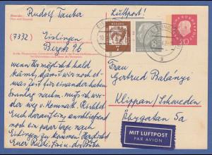 Bund Ganzsache Heuss-lumogen Mi.-Nr. P44 mit Zufrankatur per LP gel. n. Schweden