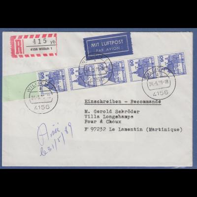 Bund 90Pfg Burgen&Schlösser 5er-Streifen vom Rollenende auf LP-R-Bf. Martinique