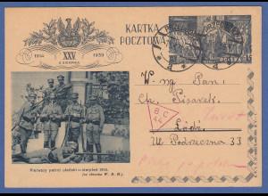 Polen Pilsudski-Ganzsache gelaufen am 1.9.1939 !!! Kriegsausbruch Beginn 2. WK !