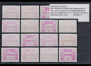 Norwegen Frama-ATM 1978 Komplettkollektion aller Aut.-Nr, Farben und Papiere **
