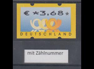 Deutschland ATM 3 Posthörner, Wertangabe in €, Mi.-Nr. 4, Wert €*3,68 ** mit Nr