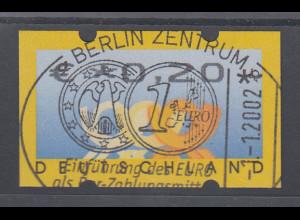 Deutschland ATM 3 Posthörner, Wertangabe in €, Mi.-Nr. 4, Restwert 0,20 mit ET-O