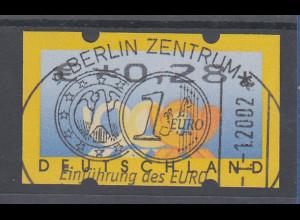 Deutschland ATM 3 Posthörner, Wertangabe in €, Mi.-Nr. 4, Restwert 0,28 mit ET-O