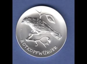 Edle Silbermedaille TIERE DER HEIMAT Motiv ROTKOPFWÜRGER 17g Ag999