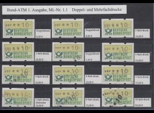 Deutschland ATM 1. Ausgabe schöne Sammlung 12 versch. Doppel- und Mehrfachdrucke