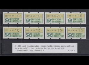 Deutschland ATM 1. Ausgabe Serie 8 ATM mit wanderndem senkr. grünen Druckausfall