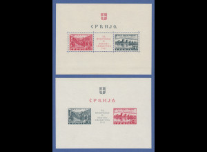 Dt. Besetzung 2.WK Serbien Semendria-Hilfe Blockpaar Mi.-Nr Block 1 und 2 **