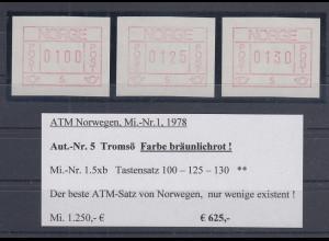 Norwegen Frama-ATM 1978, Automat 05 seltene Farbe BRAUNROT Satz 100-125-130 **