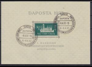 Danzig Blockausgabe DAPOSTA 1937 Mi.-Nr. Block 1b mit Sonderstempel